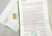 La carta de resposta de Dani Cornellà a Enric Millo, amb el llaç groc adjunt
